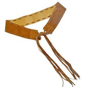 Bohemian tan suede belt with long fringe tie